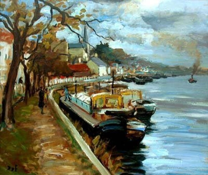 'Peniches en bord de Seine.' Oil on canvas