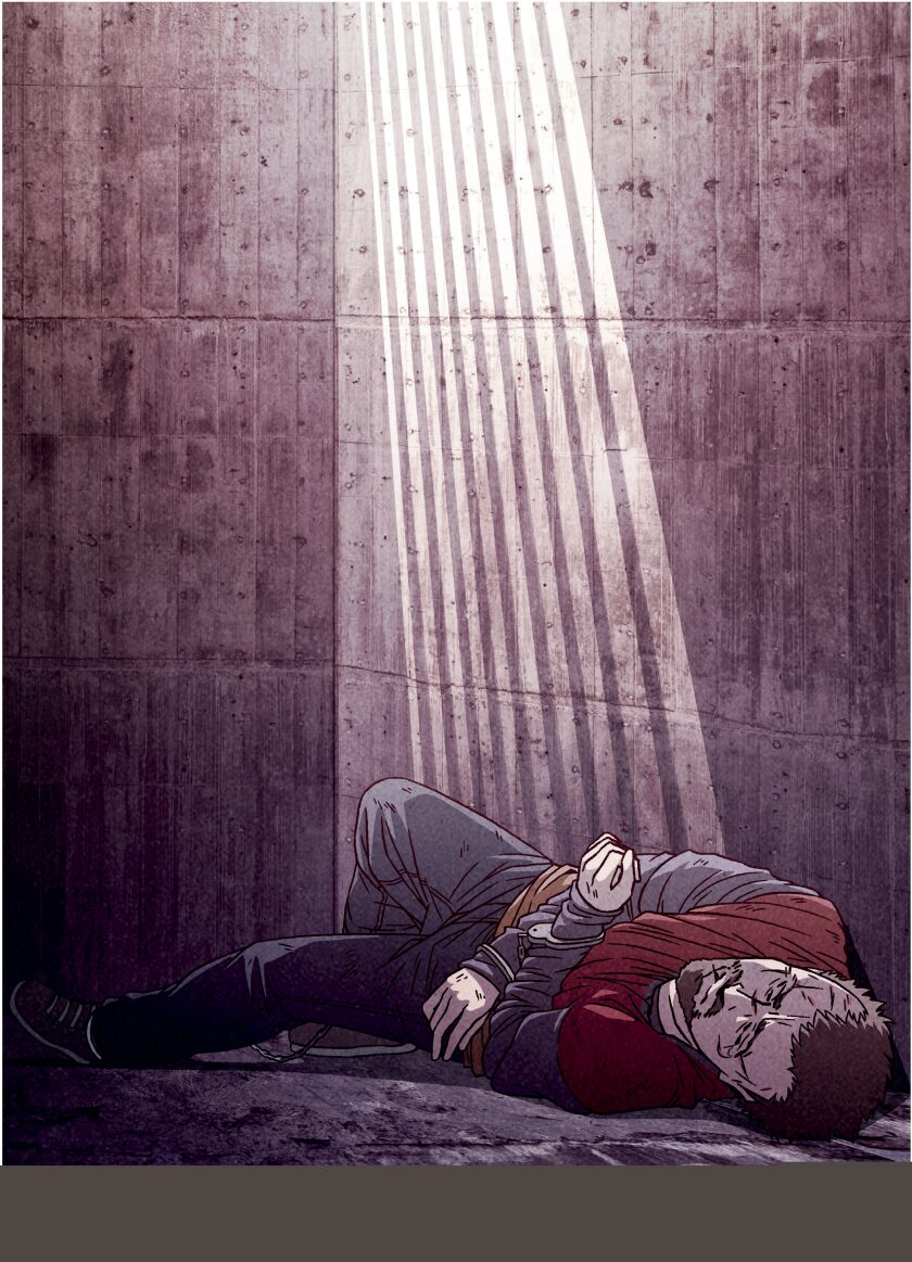 A sketch of a man laying on the floor of a cell in a slant of light.