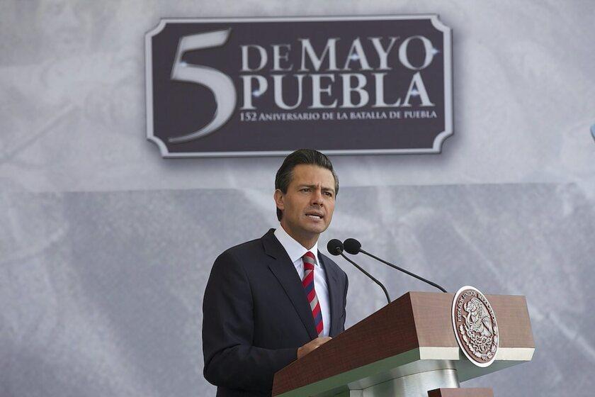 Mexican president Enrique Peña Nieto speaks during the commemorations of 152 anniversary of Puebla Battle, in Puebla, Mexico.