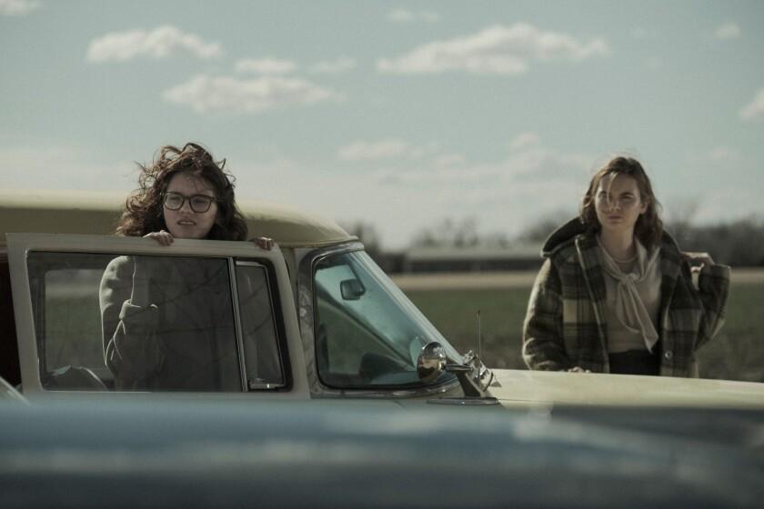 Kara Hayward, left, and Liana Liberato in the movie 'To the Stars'