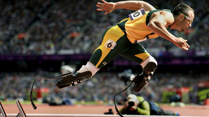 Oscar Pistorius runs in the Olympic semifinals for the 400-meter race in London in 2012.
