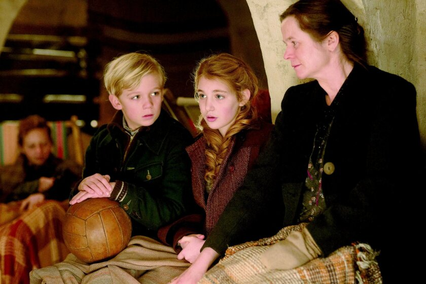 "From left: Nico Liersch, Sophie Nélisse and Emily Watson in ""The Book Thief."""