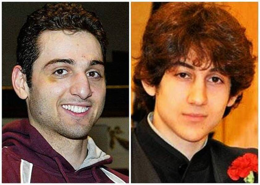 The body of Boston bombing suspect Tamerlan Tsarnaev, left, was sent to a private funeral home Friday to prepare for burial. His brother, Dzhokhar Tsarnaev, is being held at a medical center outside Boston.