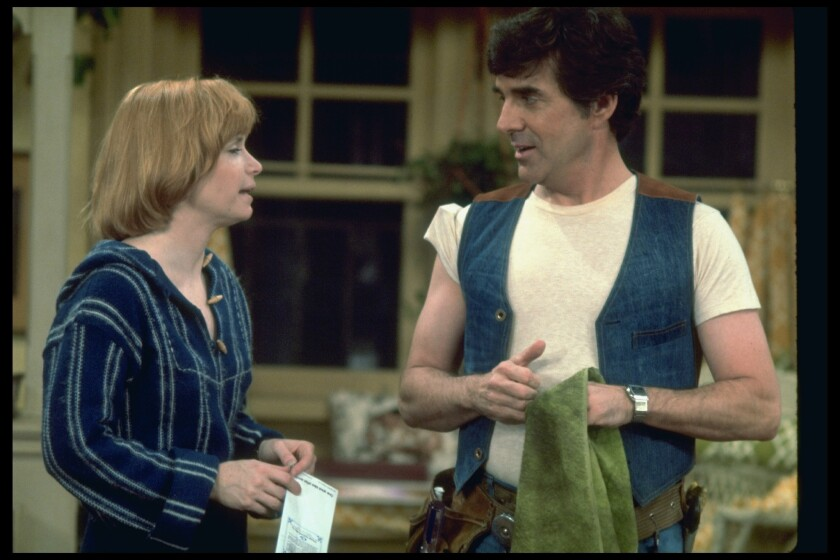 "Bonnie Franklin, left, appears with Pat Harrington Jr. in a scene from the TV sit-com ""One Day at a Time."""