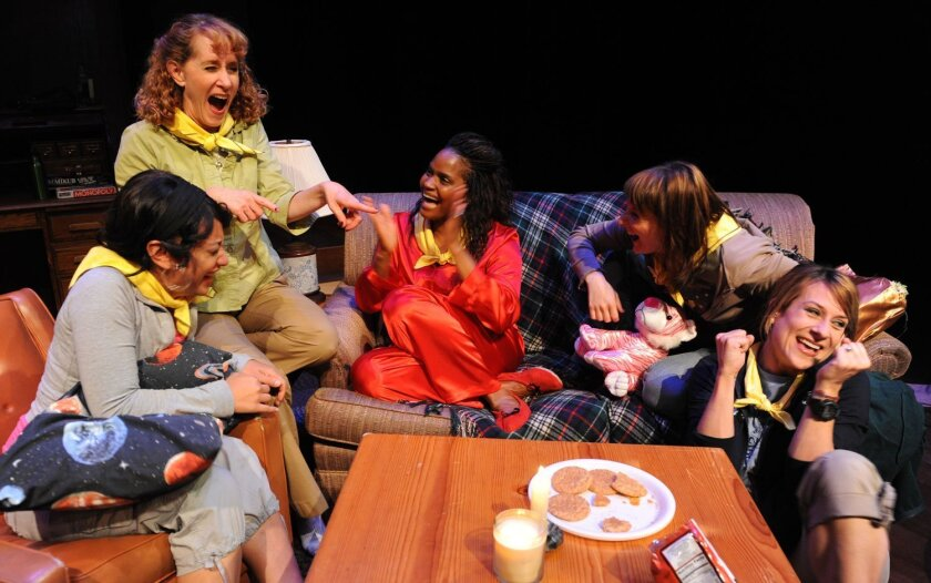 "Kaja Amado Dunn, Cynthia Gerber, Monique Gaffney, Erika Beth Phillips and Karson St. John (left to right) in ""Brownie Points."""
