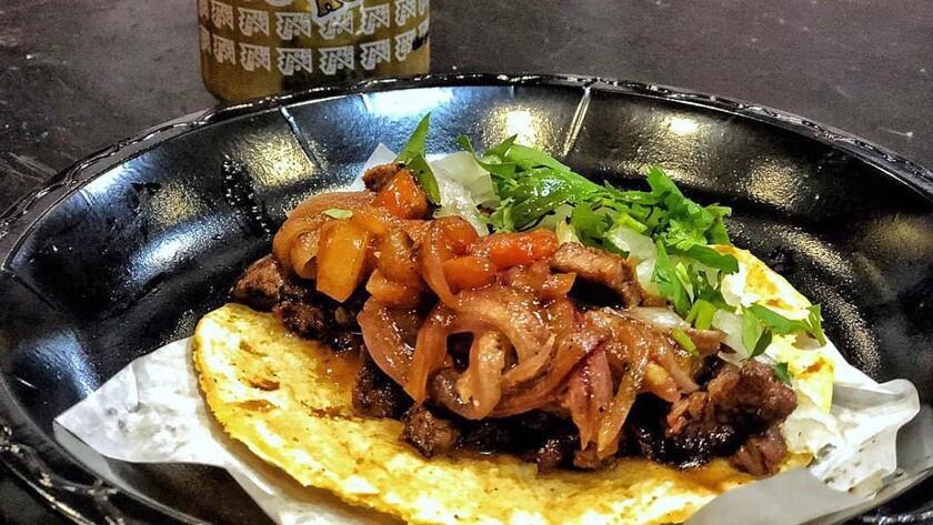 Lomo saltado tacos from Pablito's Tacos in Burbank.