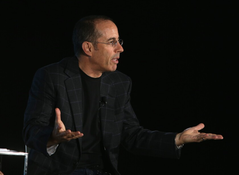 Jerry Seinfeld speaks on stage during Vulture Festival Presents: Coffee with Jerry Seinfeld at Milk Studios, on May 30 in New York City.