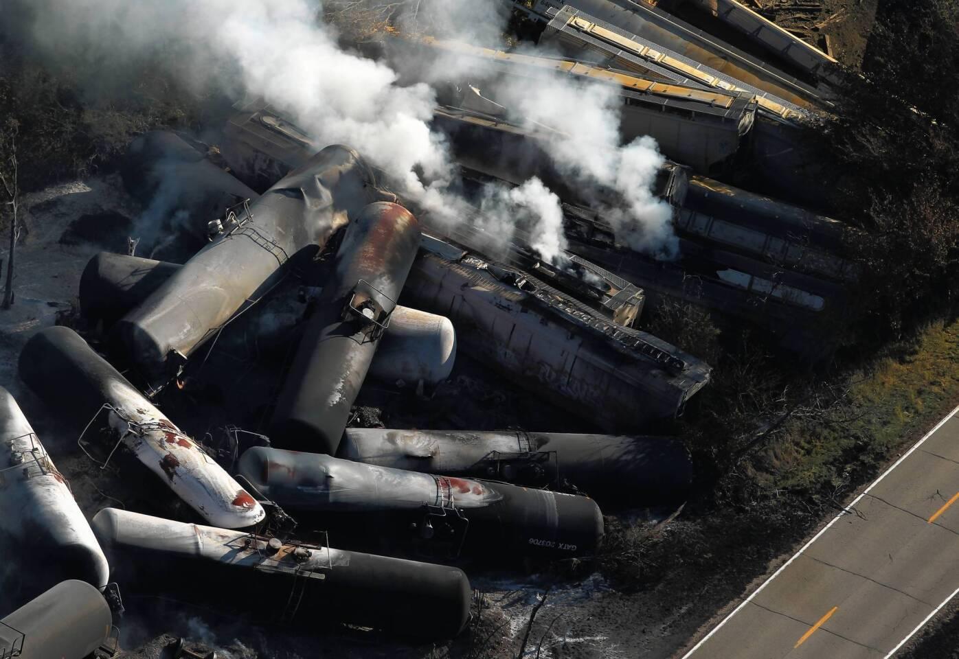 Burning remains of a major train derailment overnight smolder near the town of Tiskilwa.