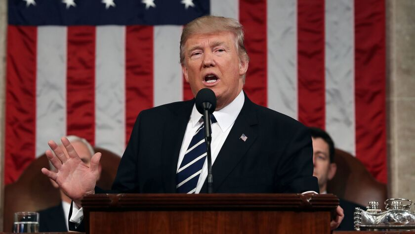 President Trump addresses a joint session of Congress in February.