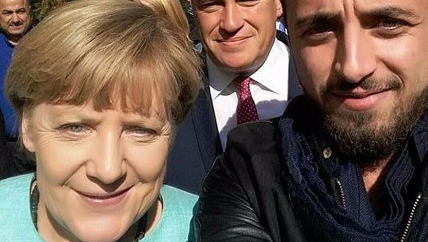 Rodin Saouan took a selfie with German Chancellor Angela Merkel just days after arriving in Berlin from Damascus, Syria.