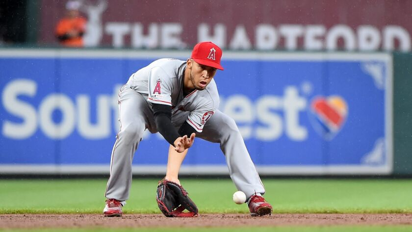 Angels' Andrelton Simmons fields a ground ball in the eighth inning against the Baltimore Orioles on May 11 in Baltimore.