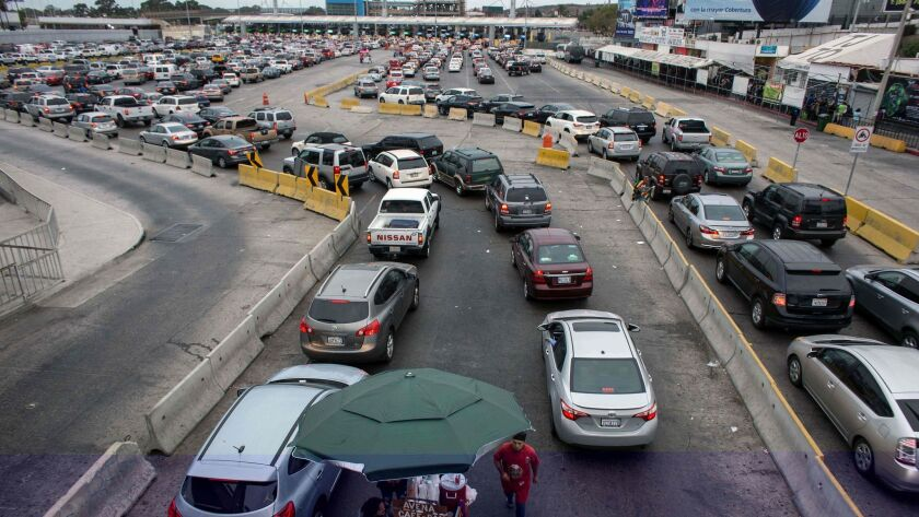 Vehicles and pedestrian crossing lines are seen on the Mexican side of the San Ysidro Port of Entry in November.