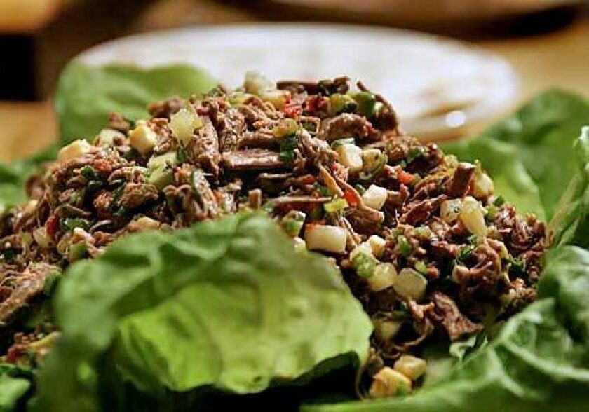 Salpicón, the Mexican salad made of shredded braised beef tossed with chiles and finely diced cucumbers, tomatoes, avocado and cheese, makes a very impressive main dish.