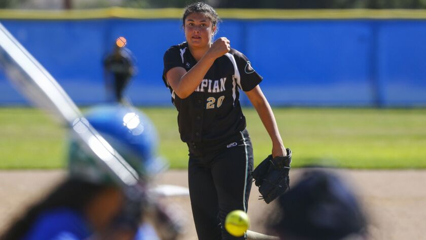 Olympian pitcher Sydney Sandez throws in the third inning against Eastlake.