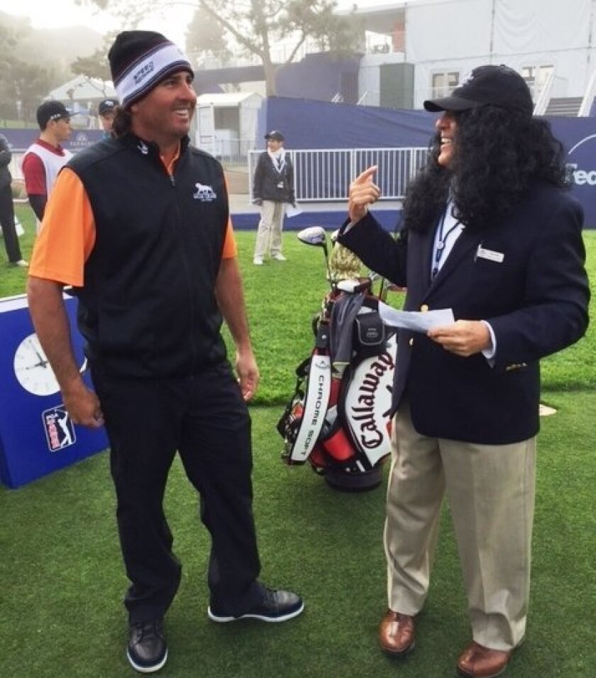 Tony Perez, right, greets his son, pro golfer Pat Perez, on first tee at Torrey Pines wearing a long-haired wig. It was a not-so-subtle message to his son to cut his hair.