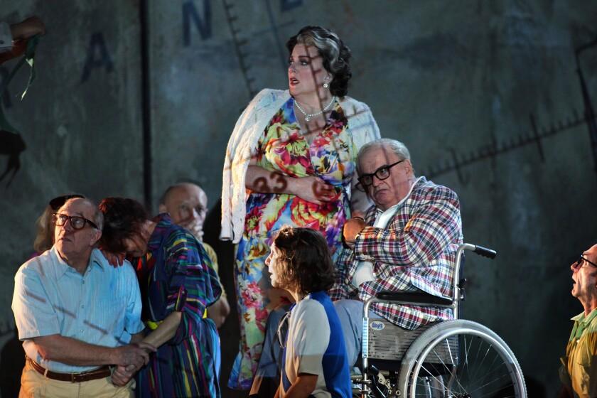 """In """"The Death of Klinghoffer,"""" Alan Opie, in wheelchair, is Leon Klinghoffer; Michaela Martens, center, is wife Marilyn."""