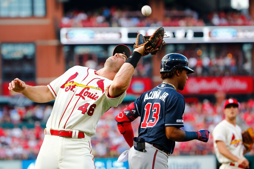 Paul Goldschmidt of the St. Louis Cardinals catches a pop by Ronald Acuna Jr. of the Atlanta Braves on May 25 at Busch Stadium in St Louis.