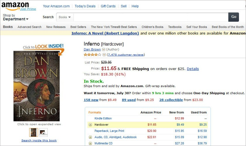 "A screenshot of Amazon's 61% discount of the hardcover of one of its bestsellers, Dan Brown's ""Inferno."""