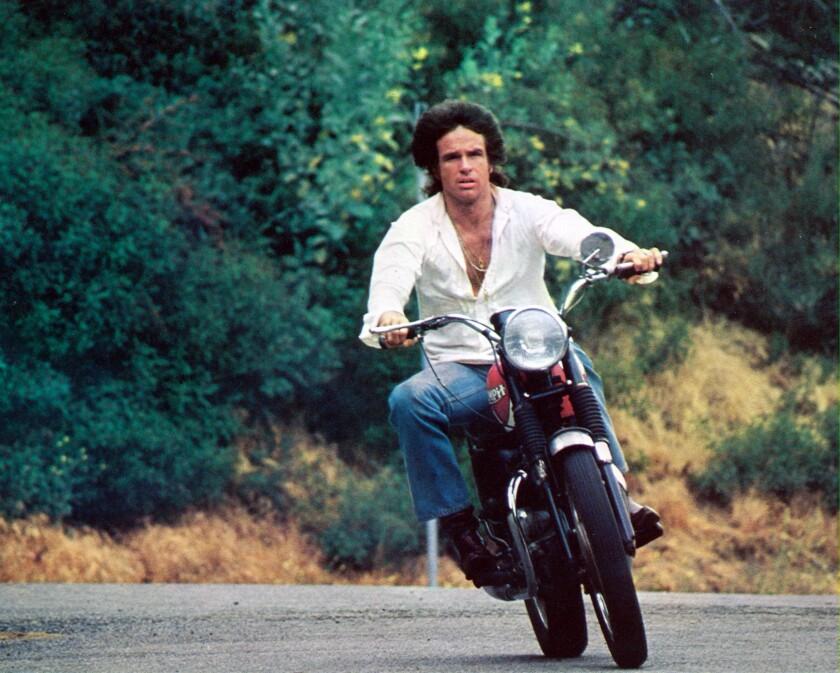 "Warren Beatty looking cool on a motorcycle in ""Shampoo."""