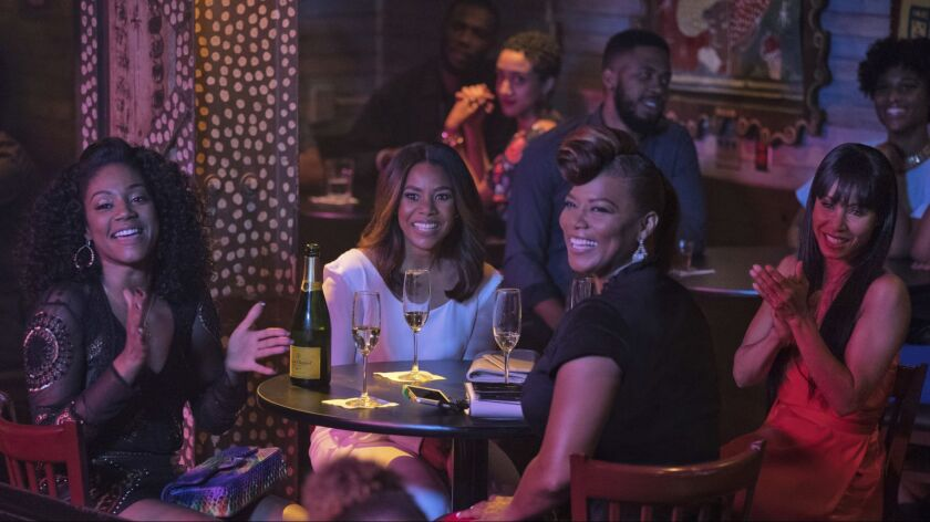"From left, Tiffany Haddish, Regina Hall, Queen Latifah and Jada Pinkett Smith in a scene from the comedy ""Girls Trip,"" one of the most successful summer films in 2017."
