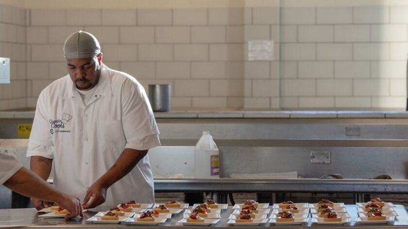 SAN QUENTIN, CA-May 22, 2019: Inside the H-Unit kitchen at San Quentin State Penitentiary, the final