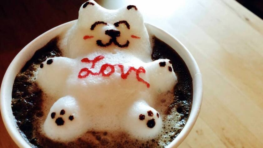 The three-dimensional latte art at Love to Go is a signature touch.