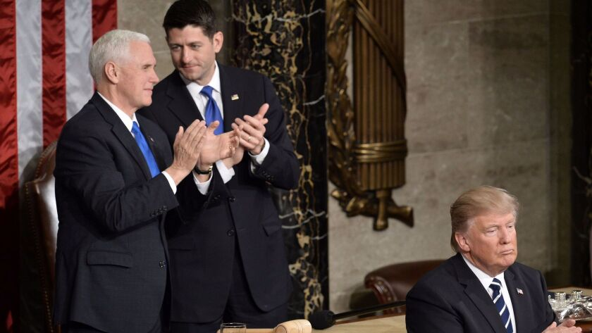 Vice President Mike Pence and House Speaker Paul D. Ryan at President Trump's speech to a joint session of Congress.