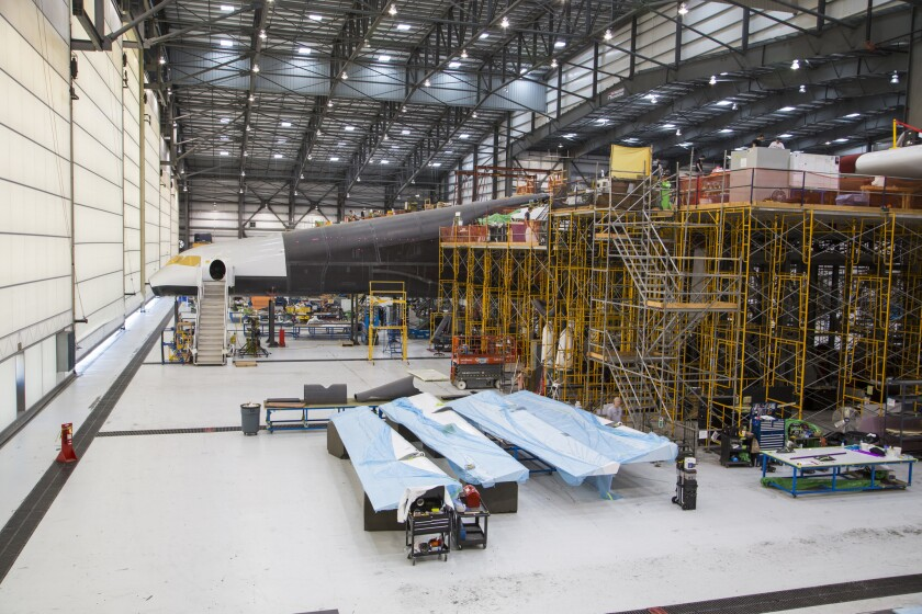 Stratolaunch's left fuselage, which will house flight data systems.