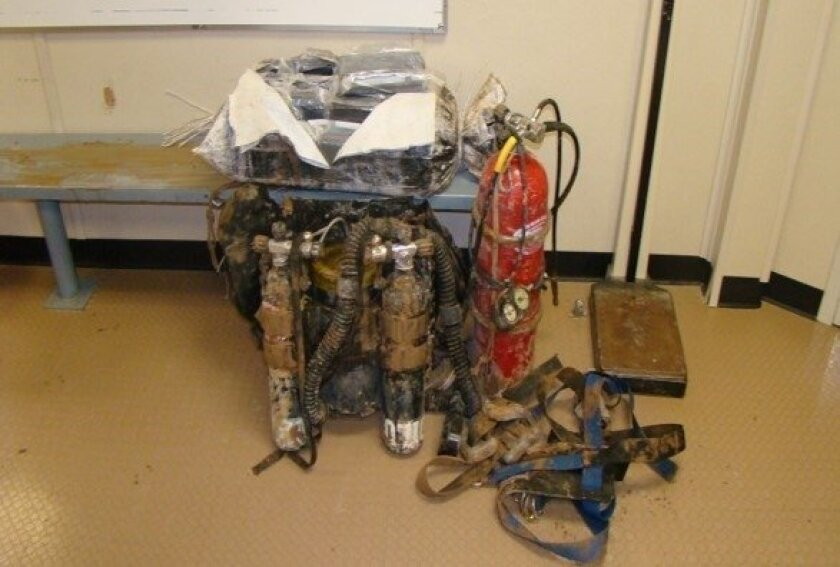 Scuba gear used by a drug smuggler arrested April 25, 2015, near the All-American Canal outside Calexico.