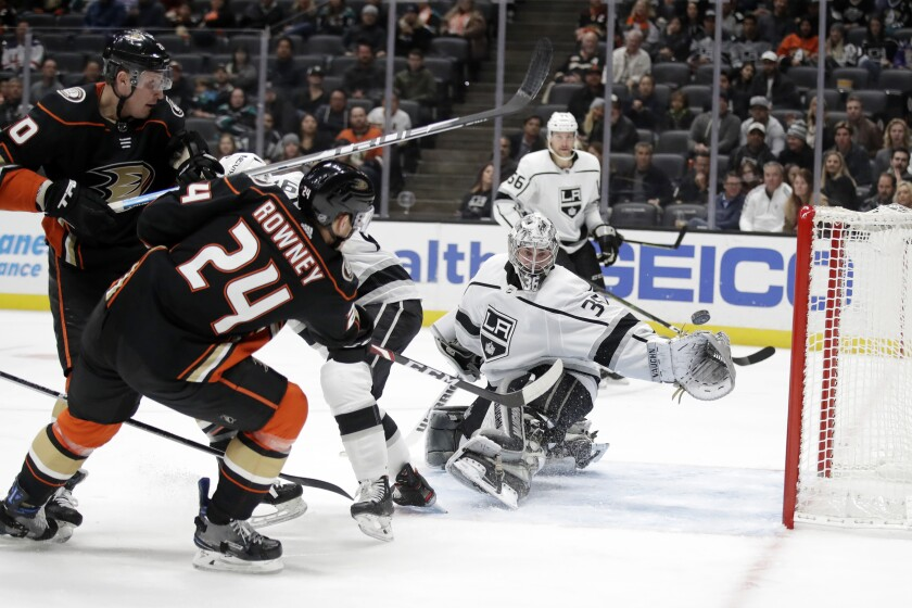 Ducks forward Carter Rowney scores past Kings goaltender Jack Campbell
