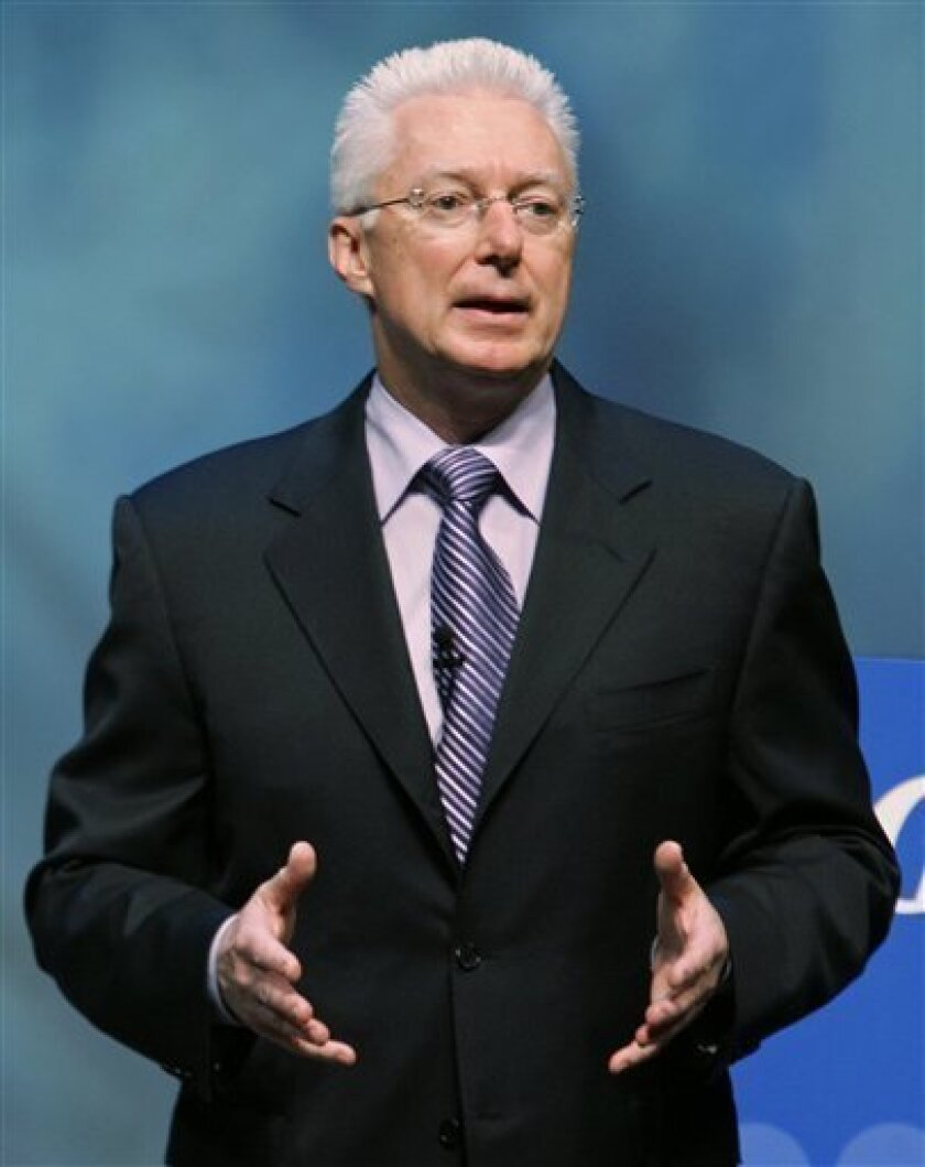 FILE - In this Oct. 14, 2008 file photo, Procter & Gamble Co., A.G. Lafley, then, chief executive officer, is shown. Procter & Gamble said Tuesday, Dec. 8, 2009, A.G. Lafley will step down as chairman Jan. 1, handing the reins to President and CEO Robert McDonald.(AP Photo/Al Behrman, File)