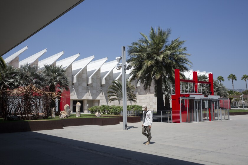 LACMA's Resnick Pavilion is one of the few buildings still open as the museum prepares for construction. Admission fees? The same as usual.