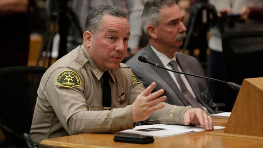Los Angeles County Sheriff Alex Villanueva speaks in front of L.A. County Board of Supervisors on Jan. 29.