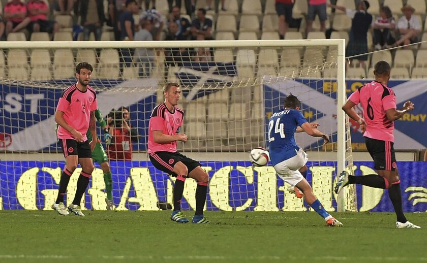 Italy's Alessandro Florenzi, second from right, shoots at the goal during a friendly match between Italy and Scotland, in preparation for the upcoming Euro 2016 European Championships, at the Ta' Qali stadium in Attard, Malta, Sunday, May 29, 2016. (AP Photo/Rene Rossignaud)