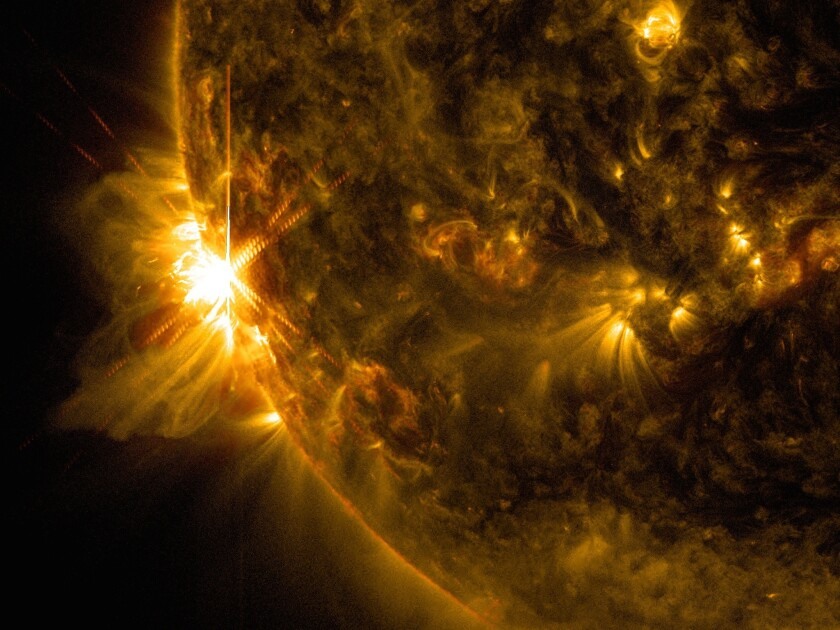 The first X-class solar flare of the morning, captured by NASA's Solar Dynamics Observatory.