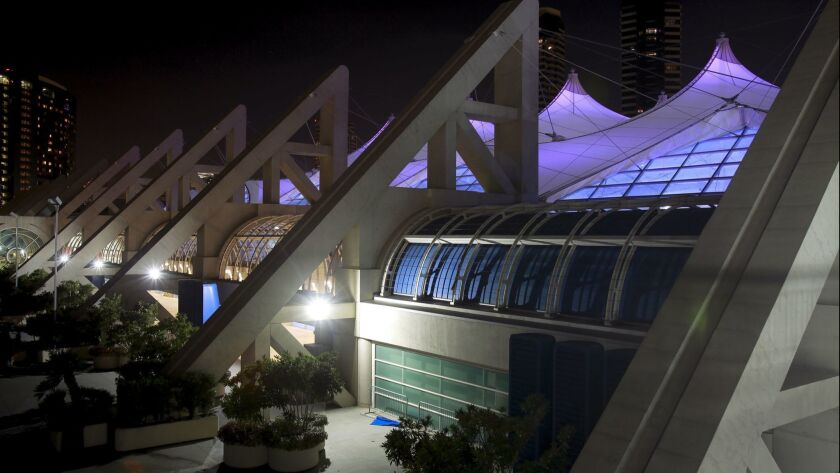 SAN DIEGO, October 25, 2018 | The sails of the San Diego Convention Center are lit in purple in hono