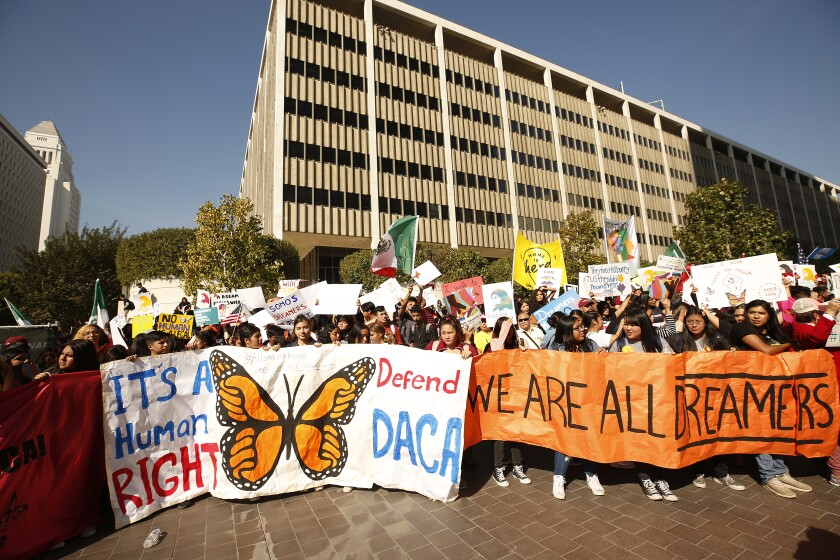 After Supreme Court hearing on DACA, California weighs in with walkouts, pledges of support for immigrants