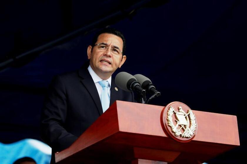 El presidente de Guatemala, Jimmy Morales (C). EFE/Archivo