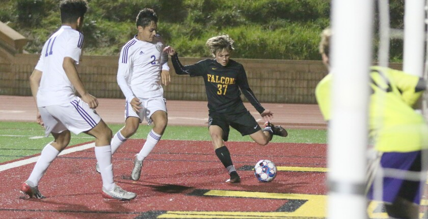 Sophomore Mateo Pacelli scored a pair of goals in Torrey Pines' win over Saints.