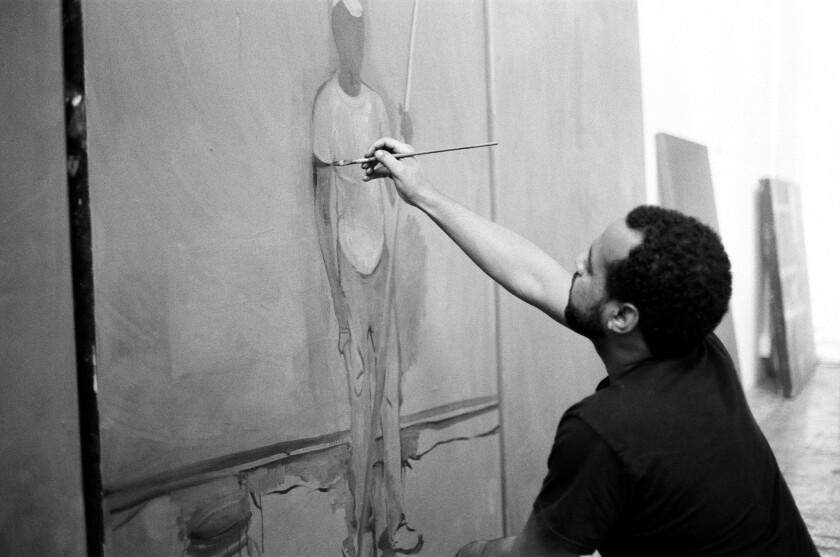 Noah Davis in his studio