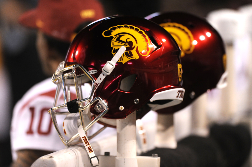 USC football helmets.