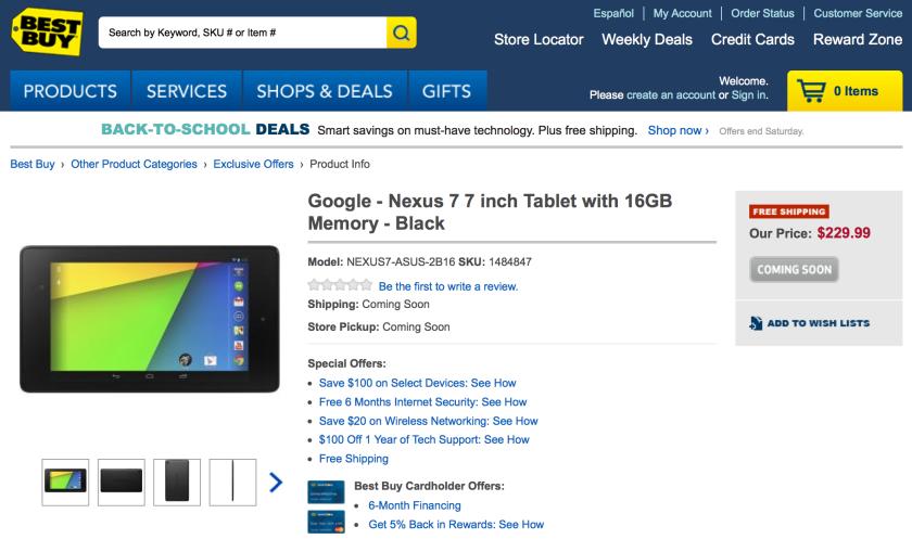 Best Buy reveals new Nexus 7 tablet ahead of Google's unveiling