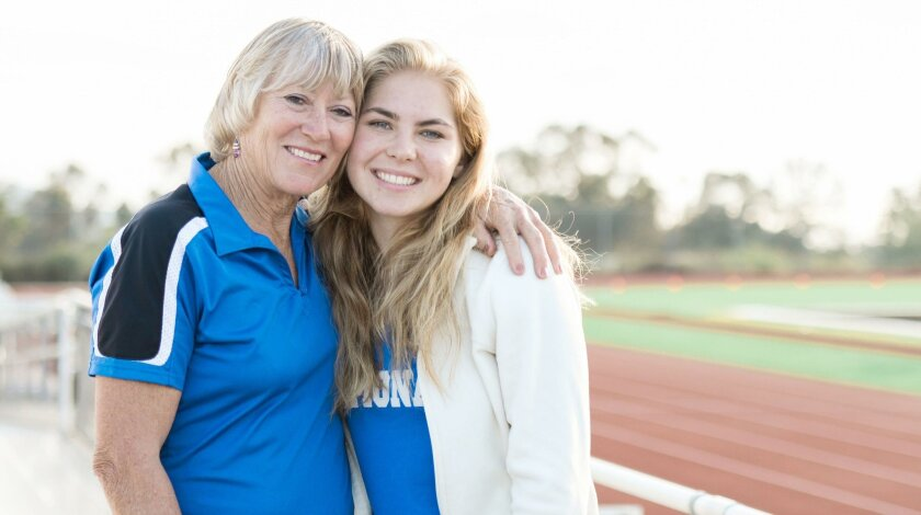 Ramona resident and two-time Olympian Patty Weirich, assistant coach for the Ramona High School track and field team, is pictured with Emily Sojourner, RHS Class of 2016 graduate who broke the 100-meter hurdles record in May, when she was a senior.