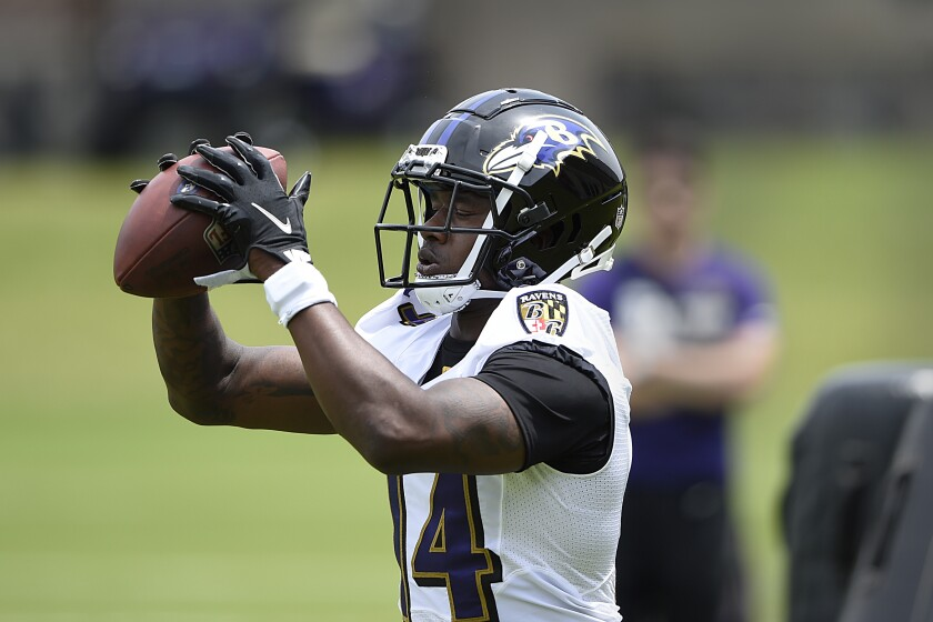 Baltimore Ravens wide receiver Sammy Watkins catches a pass during NFL football organized team activities Wednesday, June 2, 2021, in Owings Mills, Md.(AP Photo/Gail Burton)