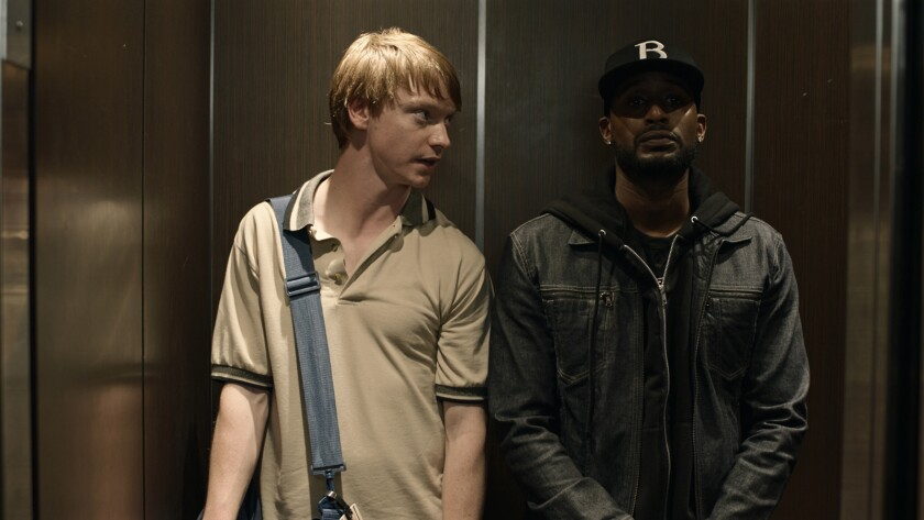 "(L-R) - Calum Worthy and Jackie Long in a scene from the movie ""Bodied."" Credit: Neon"