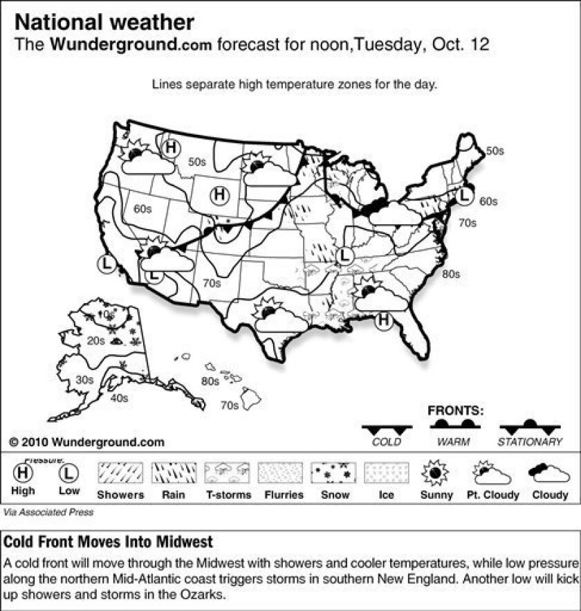 The Weather Underground forecast for Tuesday, Oct. 12, 2010 says a cold front will move through the Midwest with showers and cooler temperatures, while low pressure along the northern Mid-Atlantic coast triggers storms in southern New England. Another low will kick up showers and storms in the Ozarks. (AP Photo/Weather Underground)
