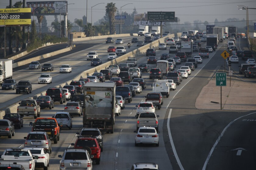 Traffic moves slowly south on Interstate 5 between the 710 and 605 freeways. The 5.8-mile stretch is considered the worst bottleneck in the state.