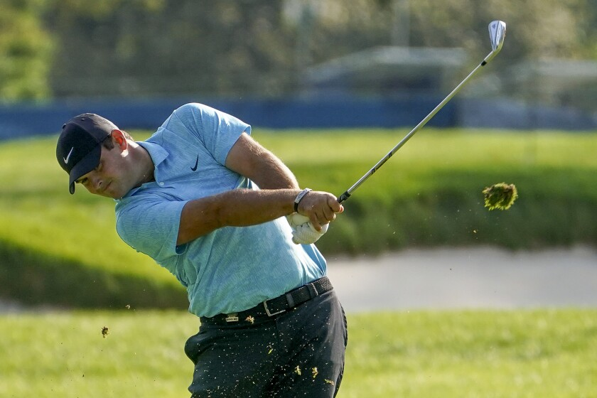 Patrick Reed plays off the second fairway during the second round of the U.S. Open on Friday.