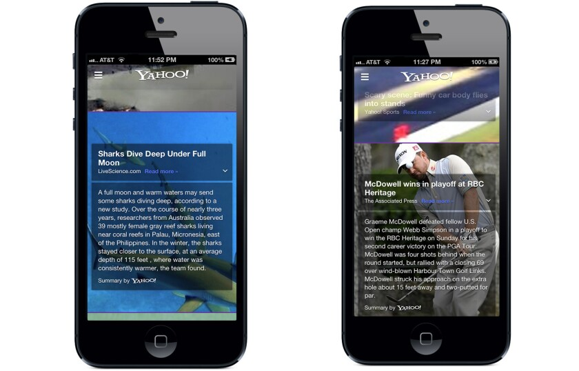 Yahoo updated its iPhone app Monday to include Summly-like news story summaries.