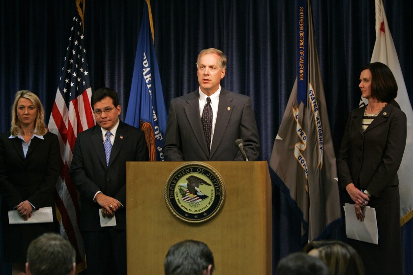 Attorney General Alberto Gonzales, second from left, announces the results of Operation Imperial Emperor in 2006. Speaking is interim U.S. Attorney Alan Poleszak.